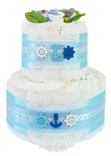 Load image into Gallery viewer, 2 Tier Bronze Buoys Nappy Cake
