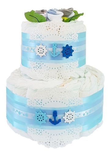 2 Tier Bronze Buoys Nappy Cake