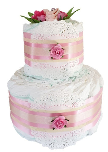 2 Tier Bronze Spring Time Nappy Cake