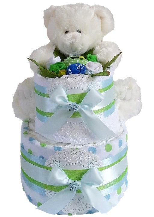 2 Tier Gold Nappy Cake