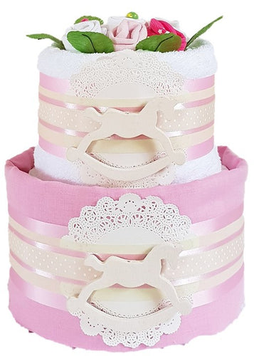 2 Tier Silver Rocking Horse Nappy Cake