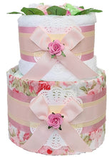 Load image into Gallery viewer, 2 Tier Vintage Peony Nappy Cake