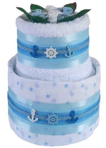 2 Tier Silver Buoys Nappy Cake