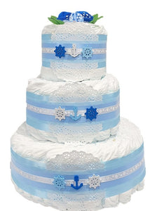 3 Tier Bronze Buoys Nappy Cake