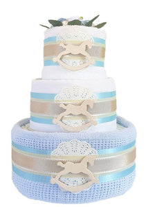 3 Tier Silver Rocking Horse Nappy Cake