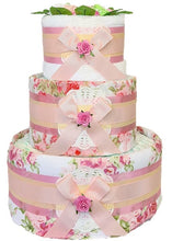 Load image into Gallery viewer, 3 Tier Vintage Peony Nappy Cake