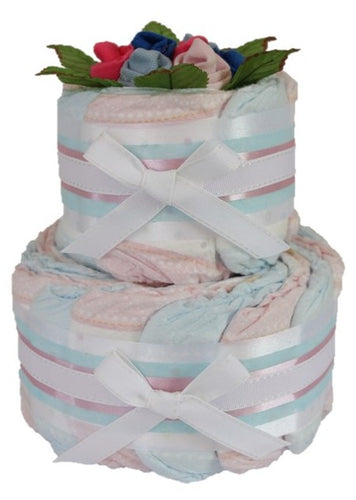 2 Tier Bronze Twins Nappy Cake