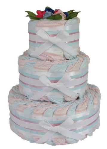3 Tier Bronze Twins Nappy Cake