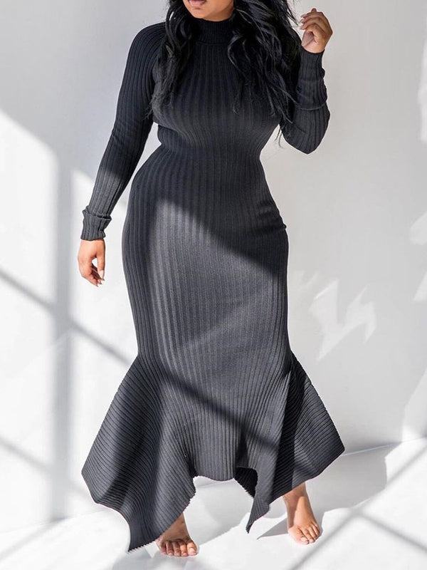 Asymmetric Floor-Length Stand Collar Plain Pullover Dress