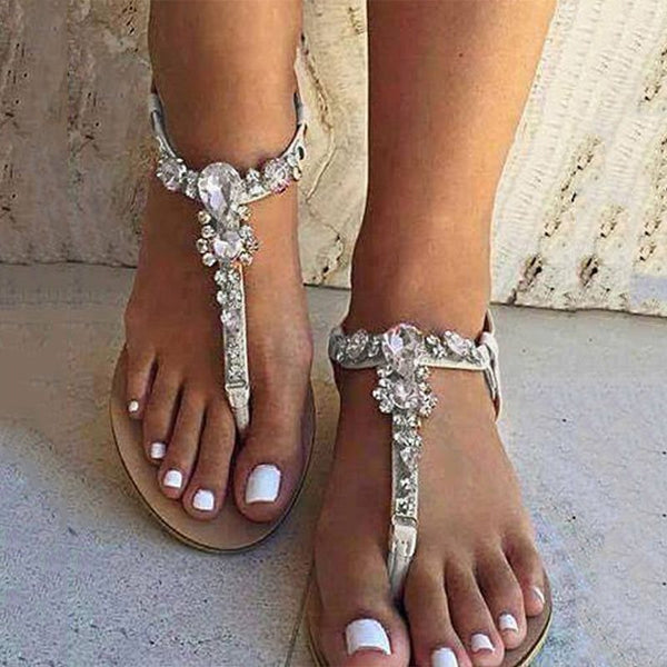 Block Heel Strappy Elastic Band Thong Casual Rhinestone Sandals