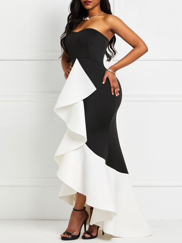 Sleeveless Falbala Floor-Length Color Block High Waist Dress