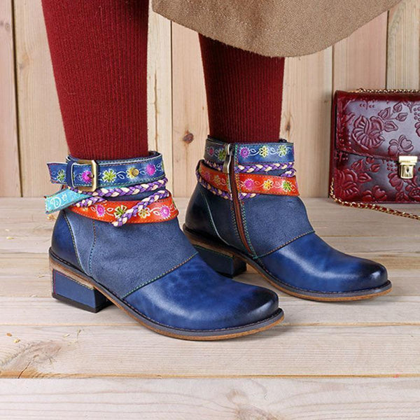 Patchwork Side Zipper Round Toe Western Buckle Boots