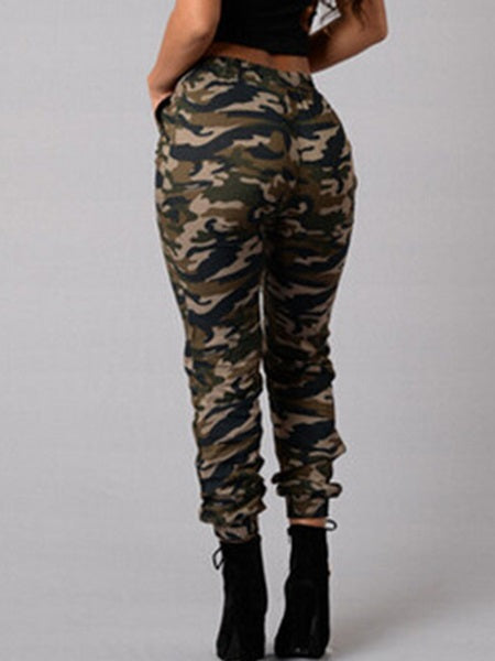 Camouflage Hole Pencil Pants Skinny Mid Waist Jeans