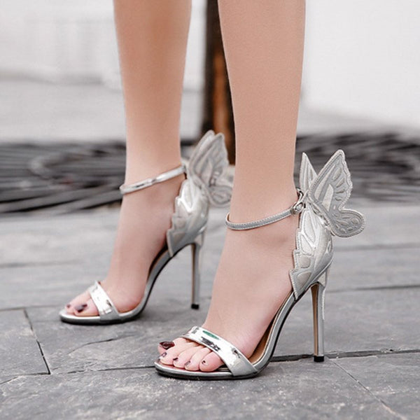 Heel Covering Line-Style Buckle Stiletto Heel Open Toe Plain Casual Sandals