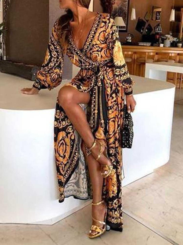 Print Long Sleeve V-Neck Geometric Lantern Sleeve Dress