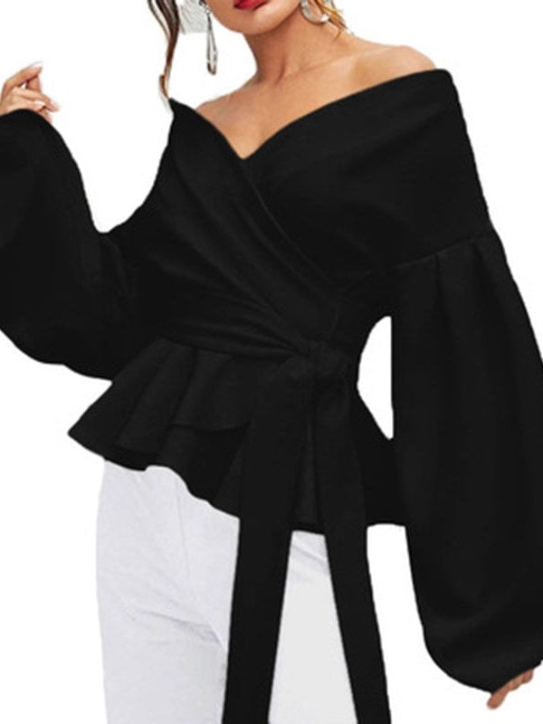 Plain V-Neck Lantern Sleeve Standard Long Sleeve Blouse