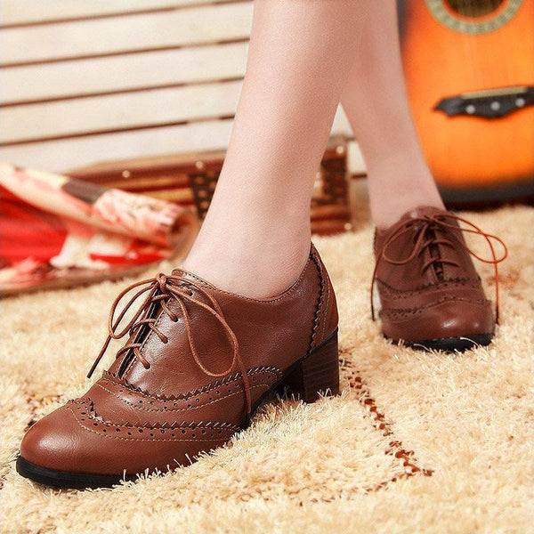 Lace-Up Front Chunky Heel Round Toe Plain Hollow Professional Boots