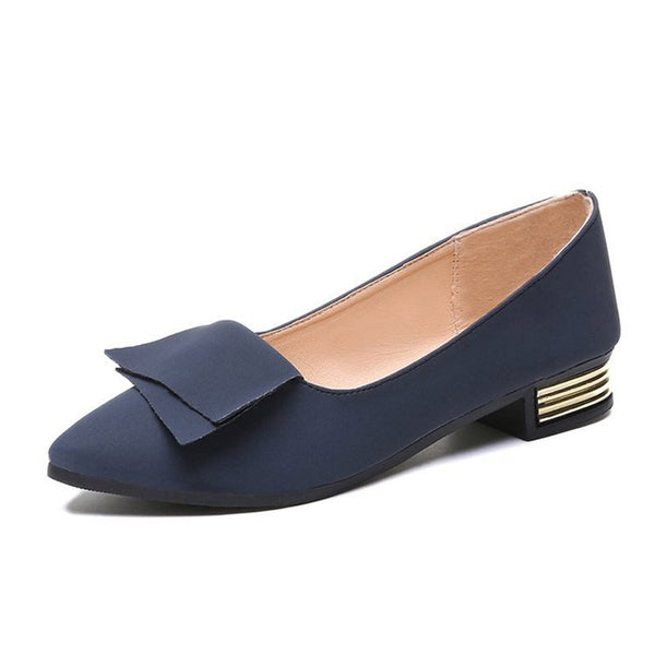 Pointed Toe Slip-On Block Heel Plain 2.5cm Thin Shoes