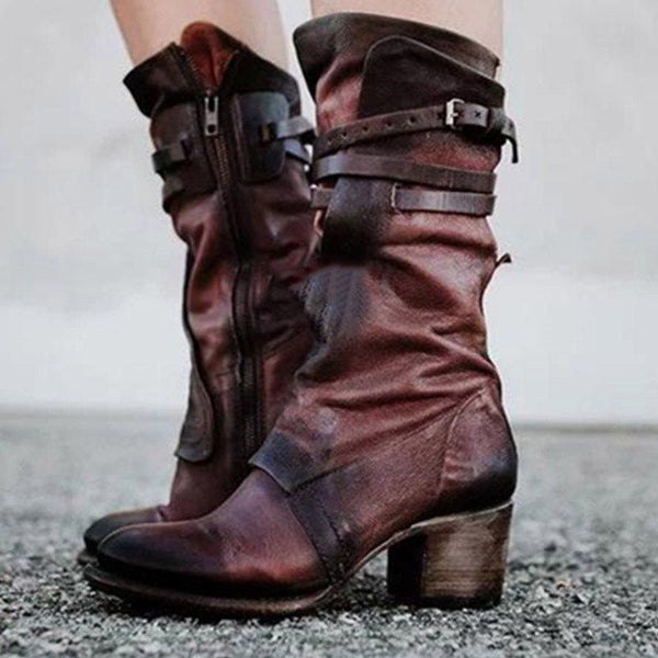 Round Toe Side Zipper Chunky Heel Casual Buckle Boots
