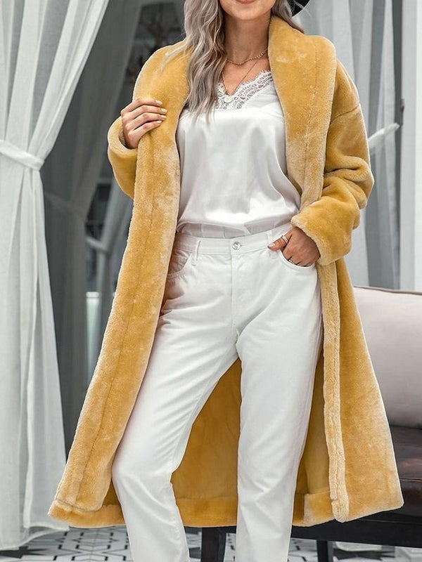 Plain Regular Long Straight Faux Fur Overcoat
