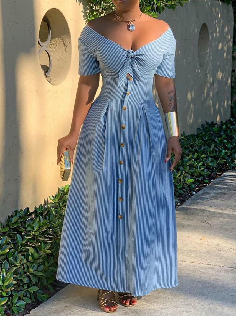 Button V-Neck Short Sleeve Western Single-Breasted Dress