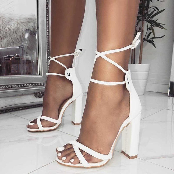 Chunky Heel Lace-Up Open Toe Heel Covering Plain Low-Cut Upper Sandals