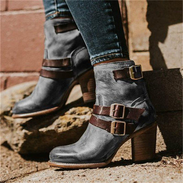 Hasp Round Toe Casual Boots