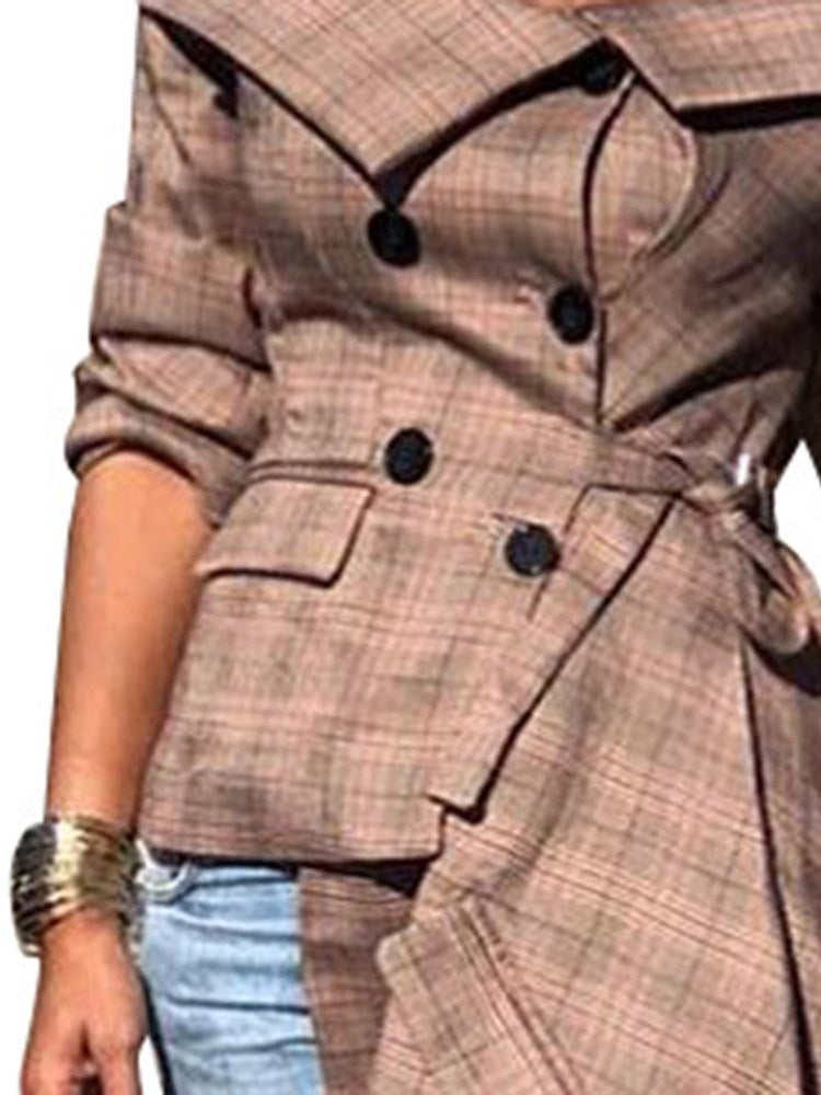 Regular Plaid Button Long Sleeve Mid-Length Blouse