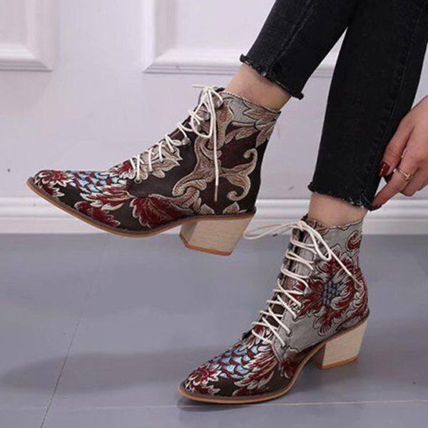 Lace-Up Front Pointed Toe Professional Boots