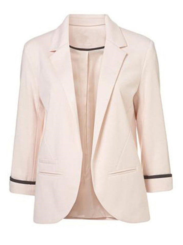 Notched Lapel Plain Nine Points Sleeve Standard Fall Casual Blazer