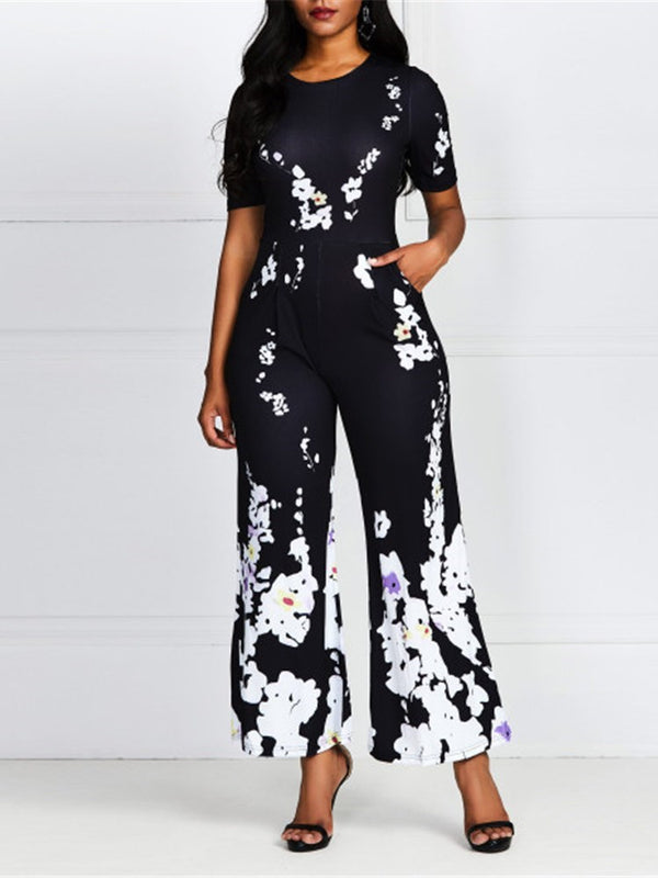 Print Casual Floral Straight High Waist Jumpsuit