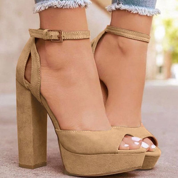 Buckle Chunky Heel Peep Toe Buckle Ultra-High Heel Plain Thin Shoes