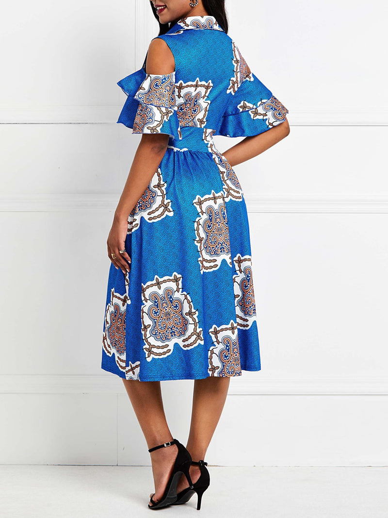Print Mid-Calf Half Sleeve Geometric Pullover Dress