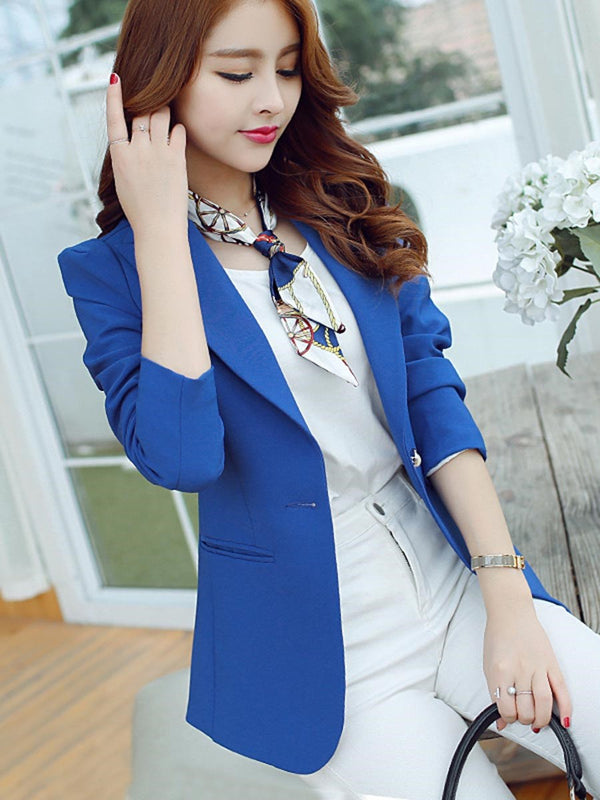 Plain One Button Long Sleeve Spring Standard Casual Blazer