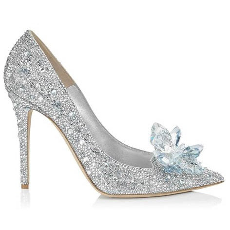 Sequin Pointed Toe Chunky Heel Slip-On Princess Wedding Thin Shoes