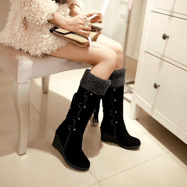 Plain Wedge Heel Slip-On Round Toe Western Short Floss Boots