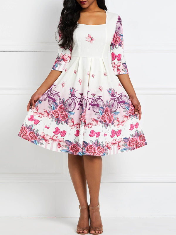 Knee-Length Square Neck Print Pullover Floral Dress