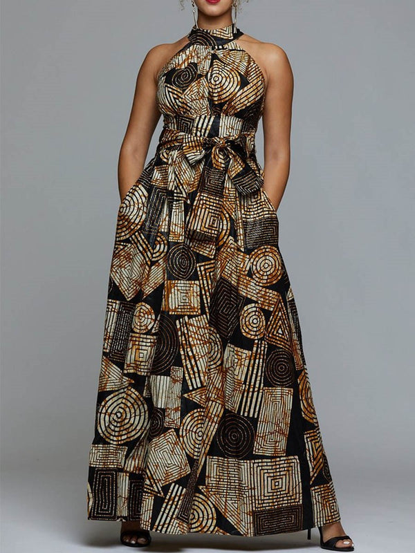 Stand Collar Print Floor-Length Expansion Color Block Dress