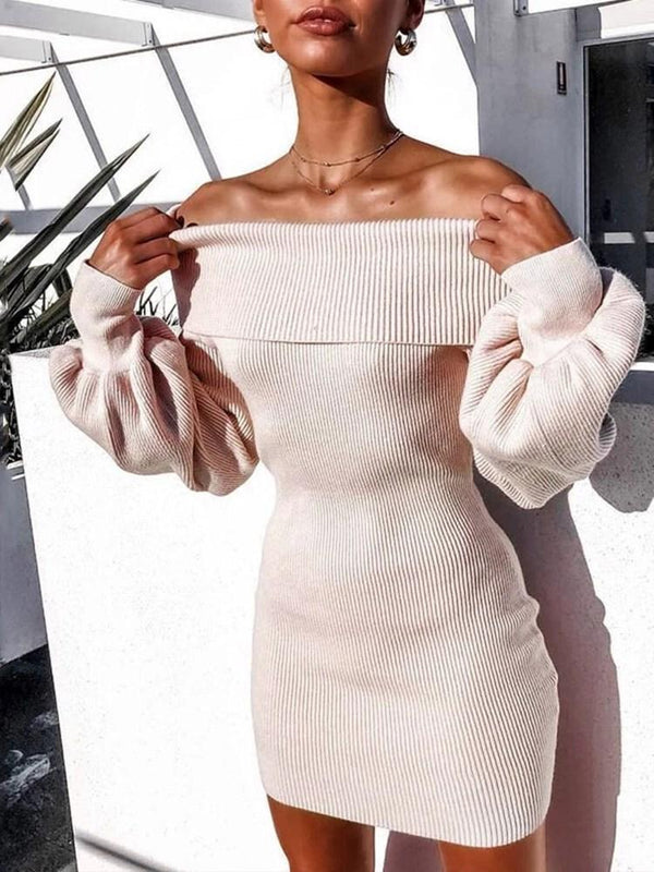 Above Knee Long Sleeve Off Shoulder Pullover Bodycon Dress