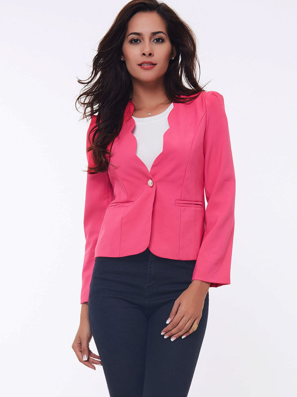 Long Sleeve One Button Plain Spring Mini Casual Blazer