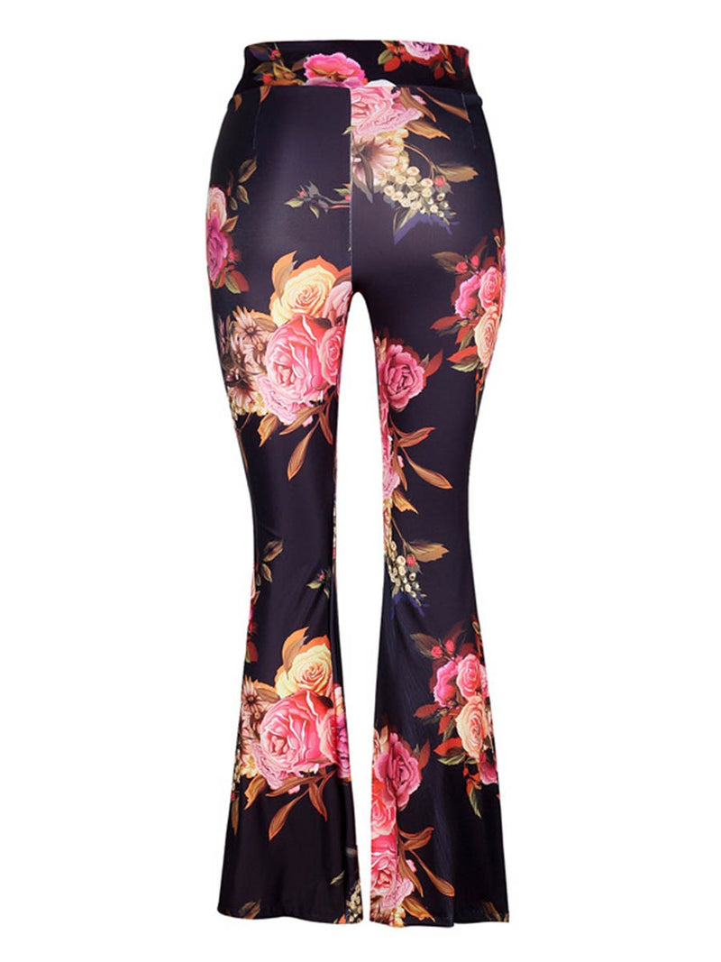 Slim Floral Print Bellbottoms High Waist Casual Pants