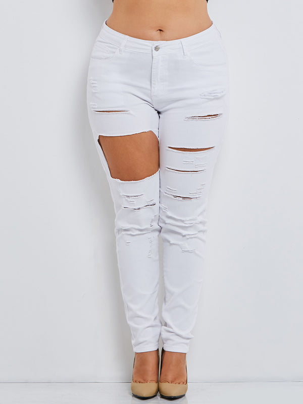 Plain Pencil Pants Hole Skinny High Waist Jeans