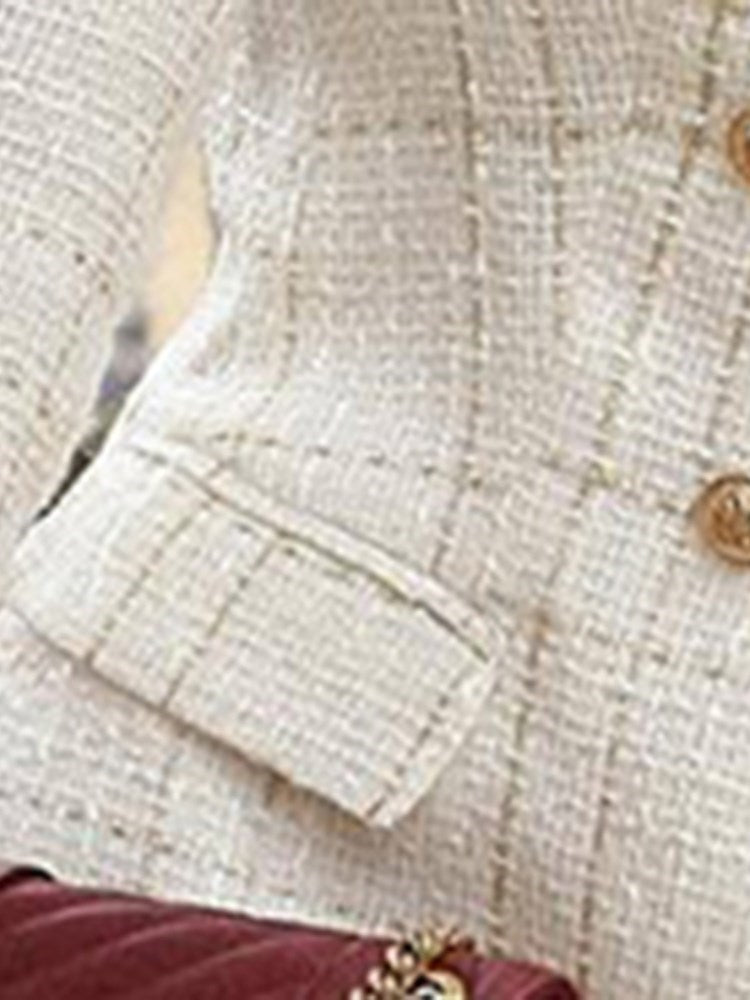 Notched Lapel Long Sleeve Double-Breasted Fall Regular Casual Blazer