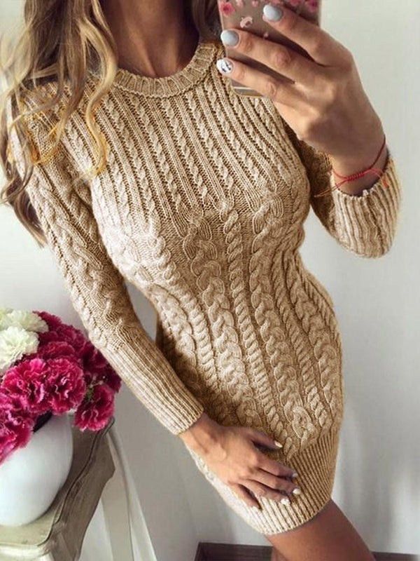 Above Knee Nine Points Sleeve Round Neck Casual Pullover Dress