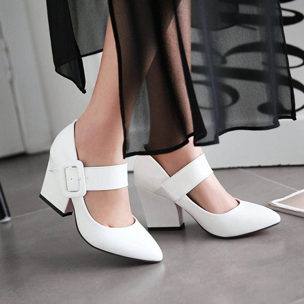 Pointed Toe Block Heel Line-Style Buckle Sweet Plain Thin Shoes