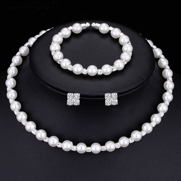 Necklace Pearl Inlaid Plain Wedding Jewelry Sets