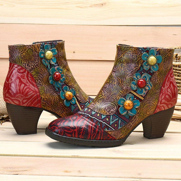 Round Toe Patchwork Side Zipper Thread Western Boots
