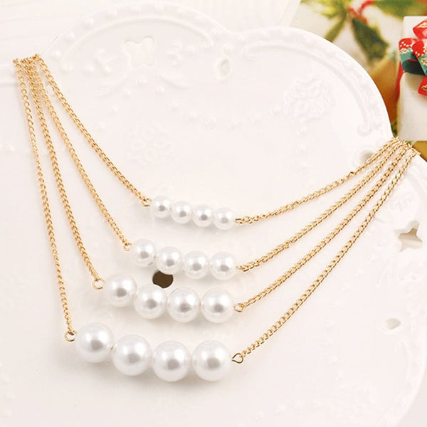 Pendant Necklace Geometric Pearl Inlaid Female Necklaces