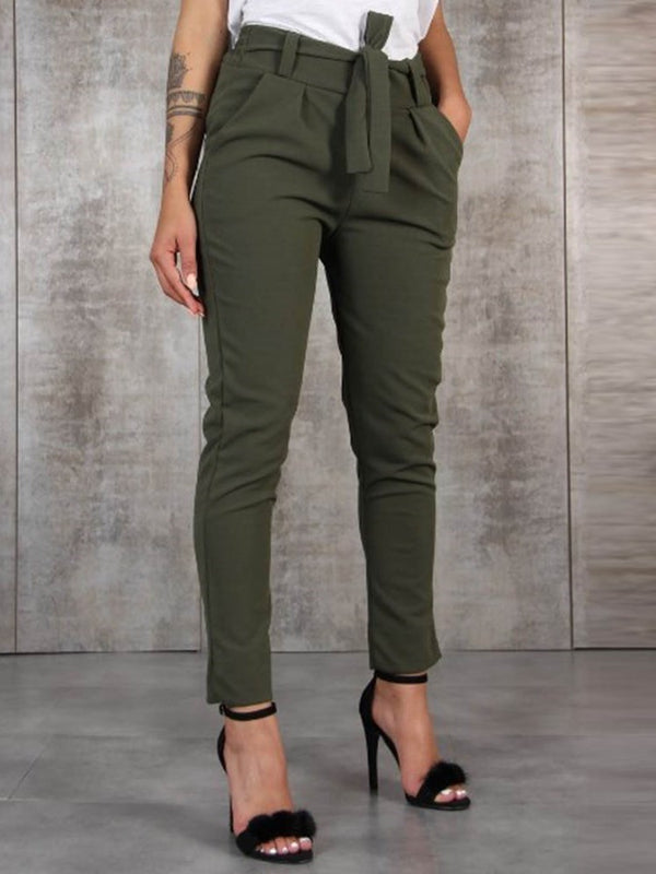 Slim Plain Lace-Up Pencil Pants Mid Waist Casual Pants