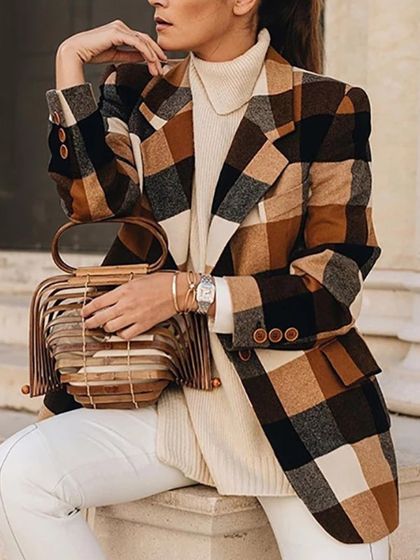 Notched Lapel Plaid Long Sleeve Mid-Length Fall Casual Blazer